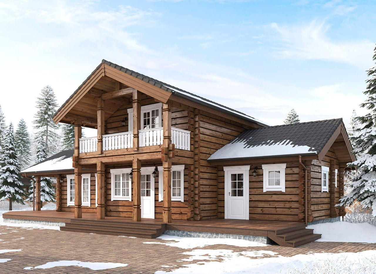 Дома из норвежского рубленного лафета фото проекты
